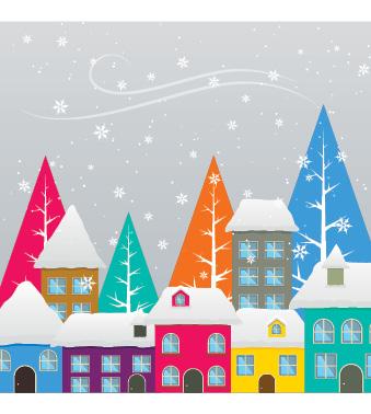 Snowy street (Pack of 10...