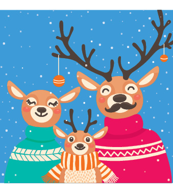 Reindeer family (Pack of 10 Christmas Cards)